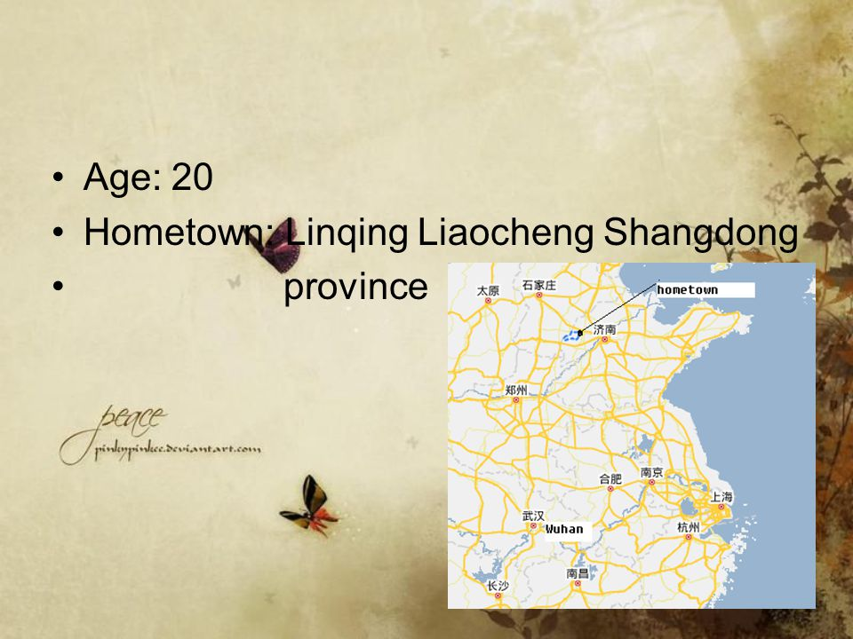 Age: 20 Hometown: Linqing Liaocheng Shangdong province