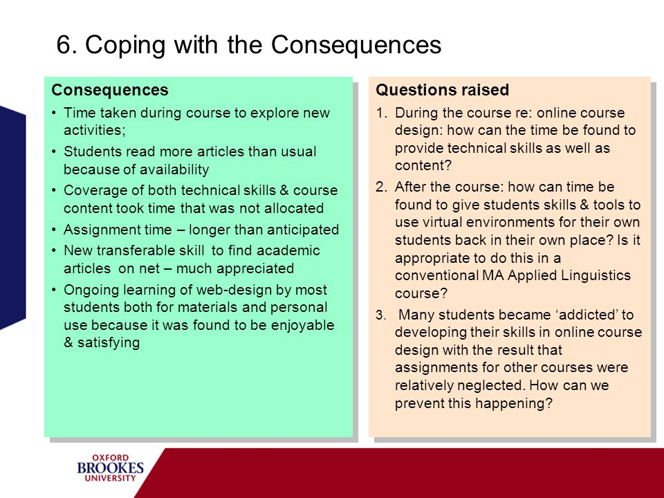 6. Coping with the Consequences Consequences Time taken during course to explore new activities; Students read more articles than usual because of ava