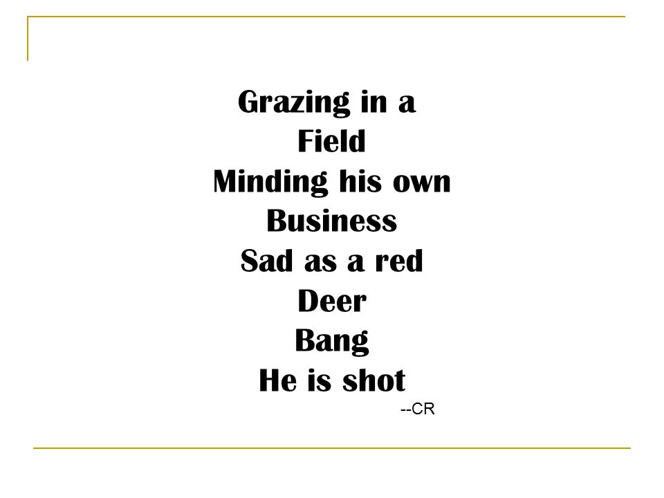 Grazing in a Field Minding his own Business Sad as a red Deer Bang He is shot --CR