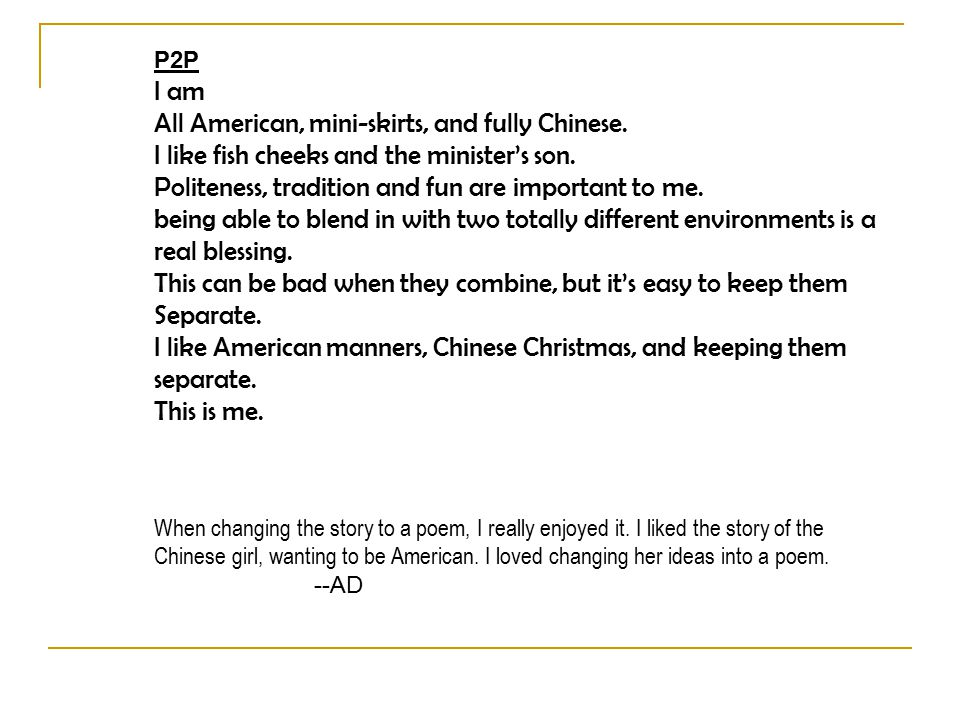 P2P I am All American, mini-skirts, and fully Chinese.