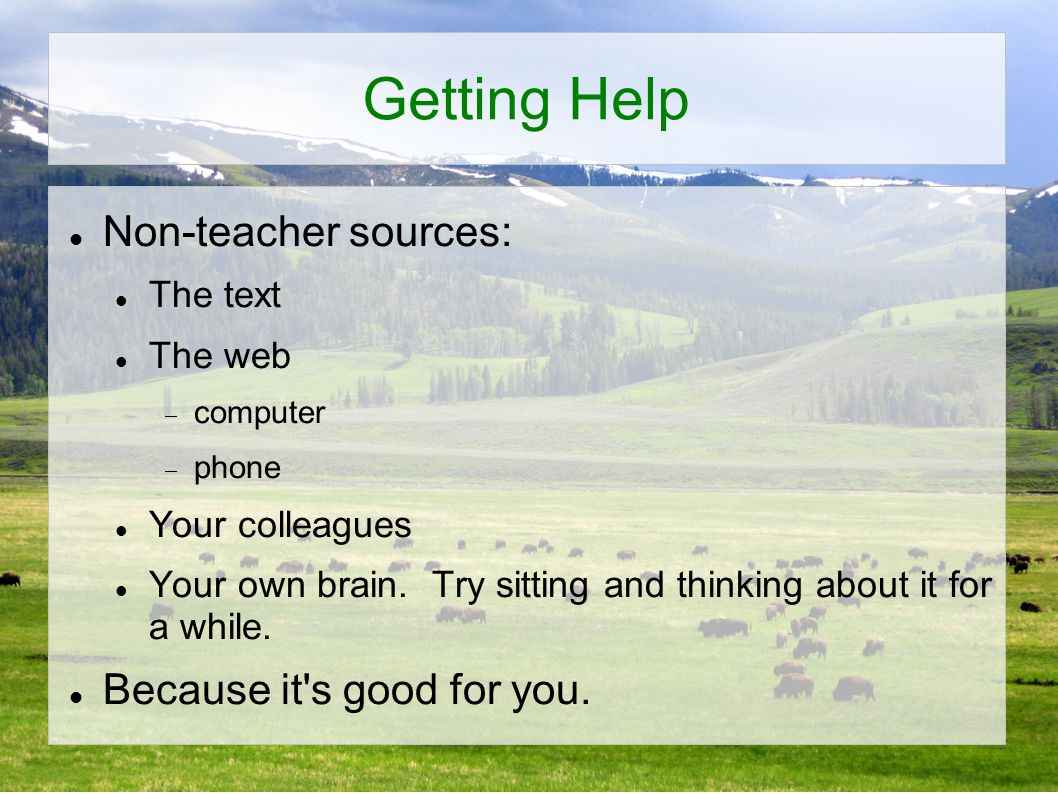 Getting Help Non-teacher sources: The text The web  computer  phone Your colleagues Your own brain.
