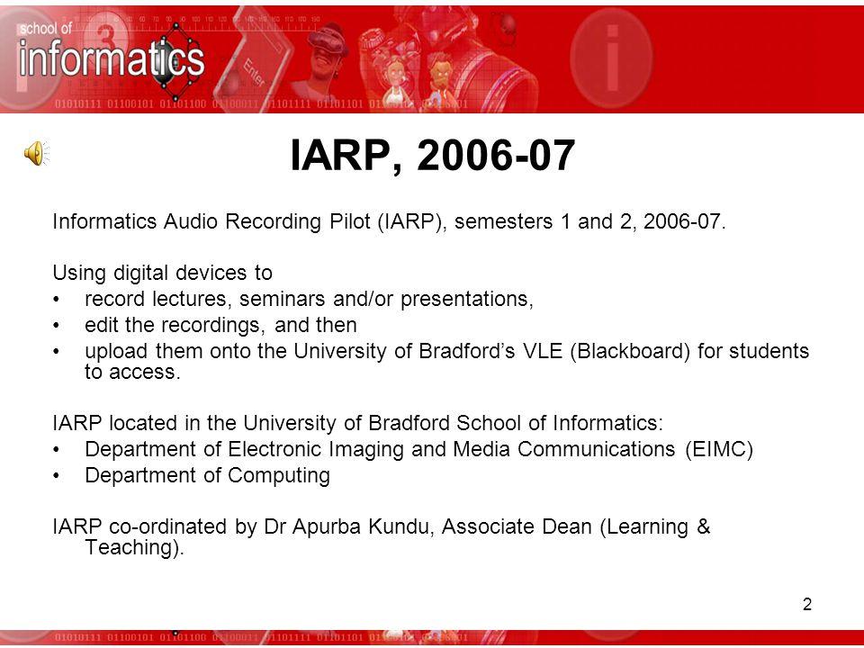 IARP Informatics Audio Recording Pilot END Please direct comments and questions to Dr Apurba Kundu at a.kundu@bradford.ac.uk