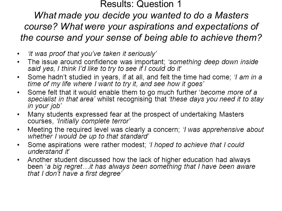 The recognition of educational achievement in others differs too once a Masters has been attained.