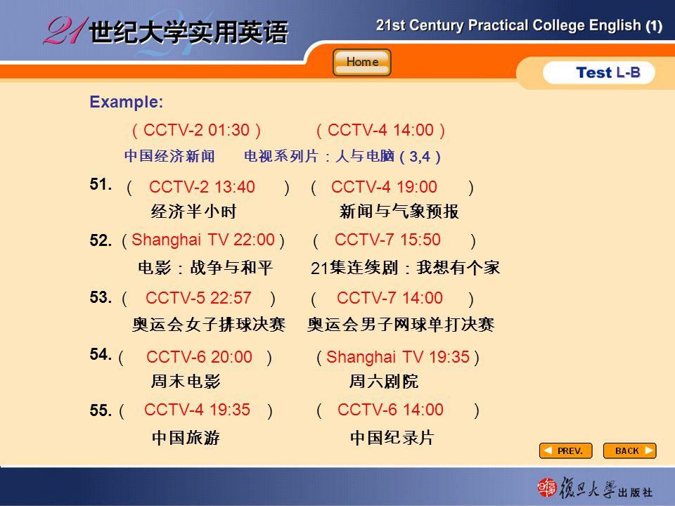 (1) L-B P3-task4-4 Example: ( CCTV-2 01:30 ) ( CCTV-4 14:00 ) 中国经济新闻 电视系列片:人与电脑( 3,4 ) 51.