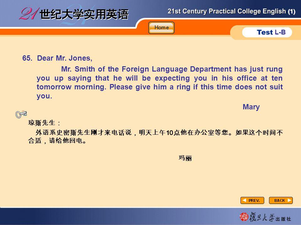 (1) L-B P4-4 65. Dear Mr. Jones, Mr.