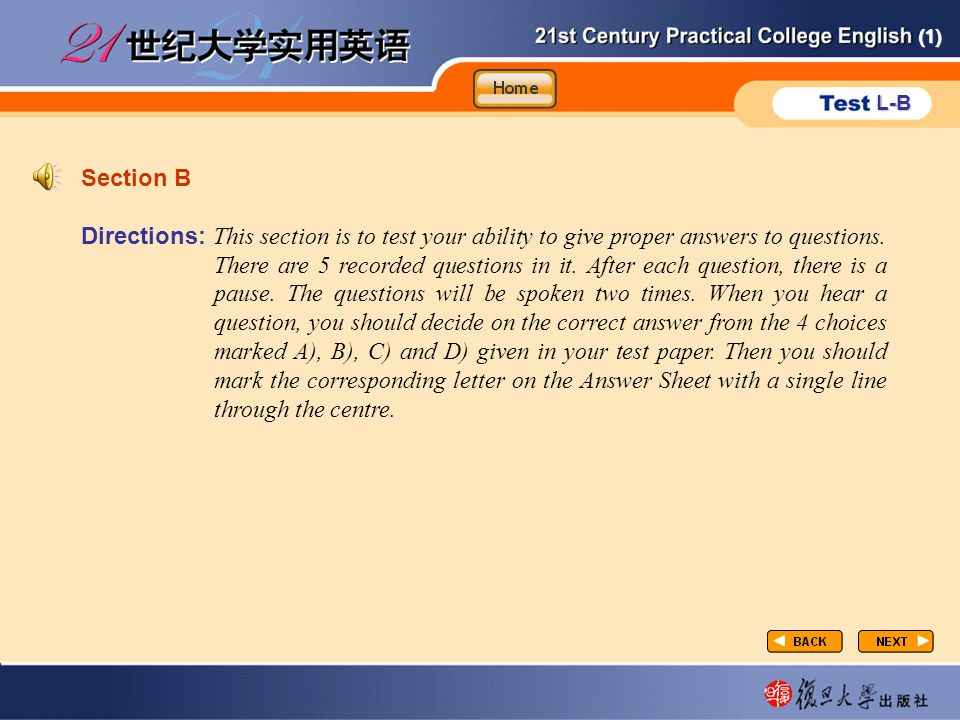 (1) L-B P1-sectionB-1 Section B Directions: This section is to test your ability to give proper answers to questions.