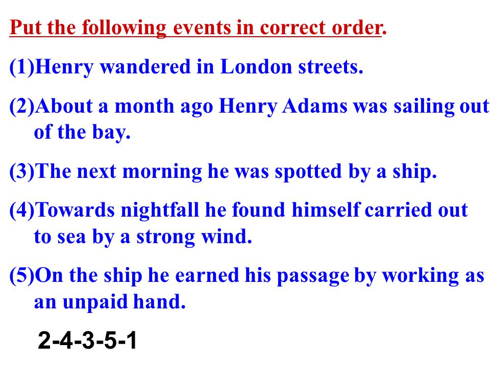 Put the following events in correct order. (1)Henry wandered in London streets.