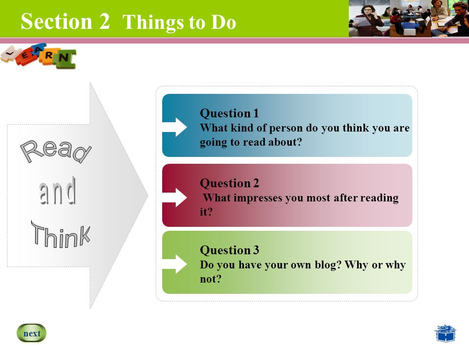 Section 2 Things to Do Question 3 Do you have your own blog.