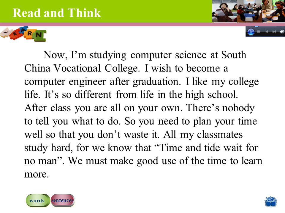 Read and Think Now, I'm studying computer science at South China Vocational College.
