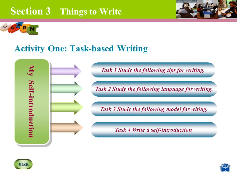 Section 3 Things to Write Activity One: Task-based Writing My Self-introduction Task 1 Study the following tips for writing.