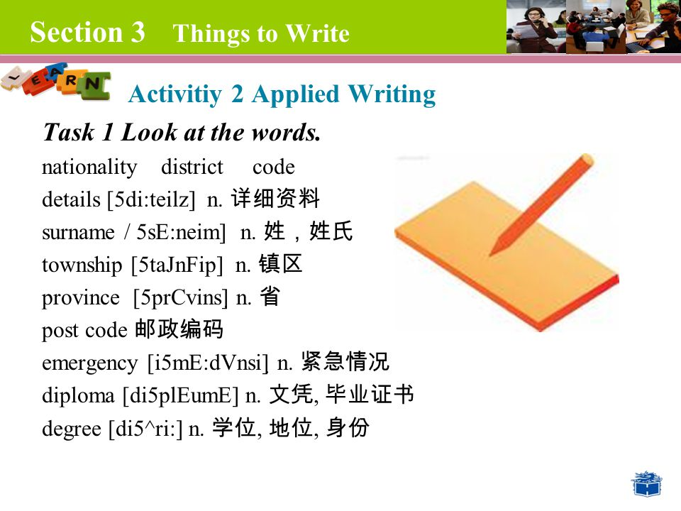 Section 3 Things to Write Activitiy 2 Applied Writing Task 1 Look at the words.