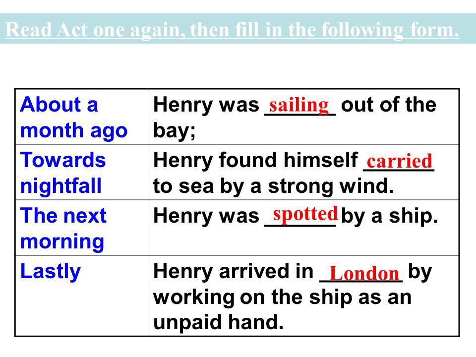 F (fact) or O (Opinion) 1). Henry wants to find a job in London.( ) 2). Henry is given an envelope by the two brothers. ( ) 3). Henry is an unlucky yo