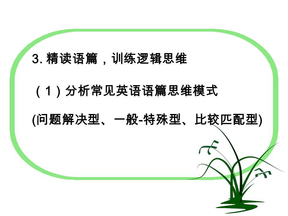 3. 精读语篇,训练逻辑思维 ( 1 )分析常见英语语篇思维模式 ( 问题解决型、一般 - 特殊型、比较匹配型 )