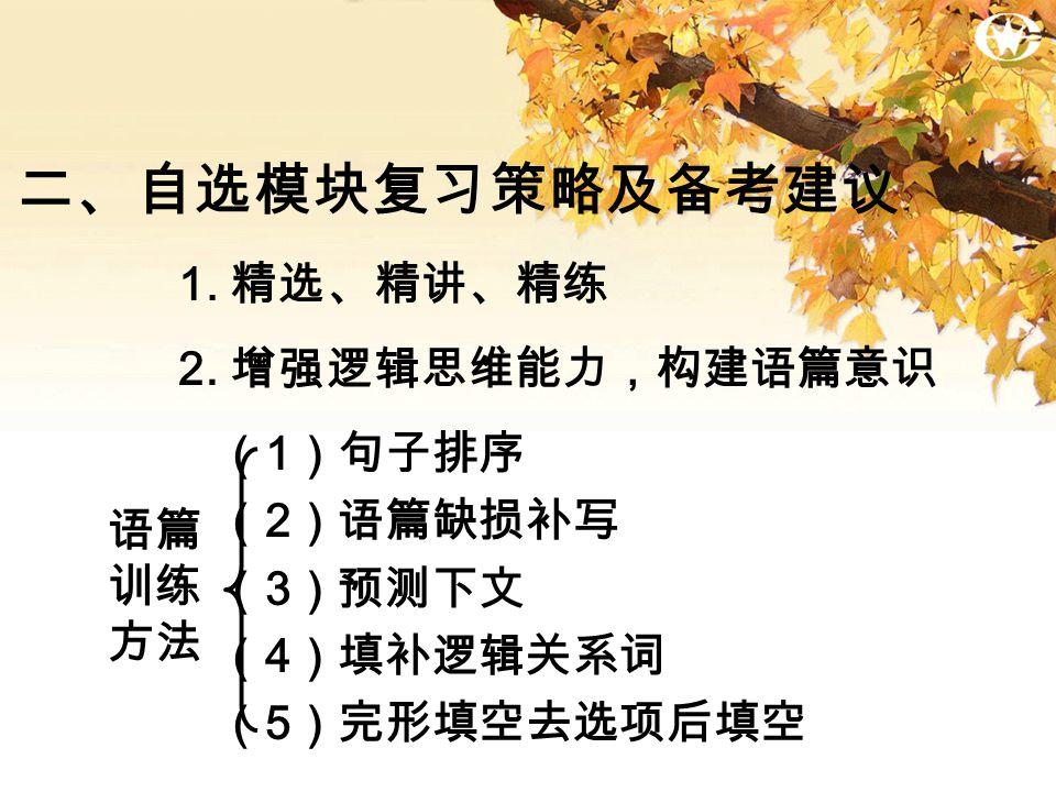 二、自选模块复习策略及备考建议 2.