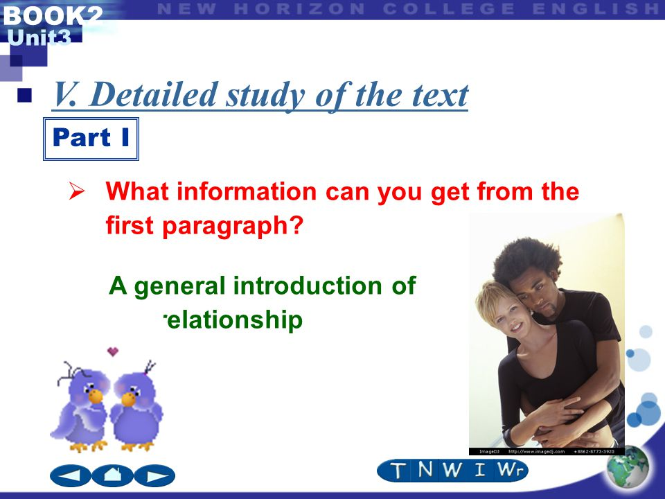 BOOK2 Unit3 V. Detailed study of the text Part I A general introduction of our relationship  What information can you get from the first paragraph?