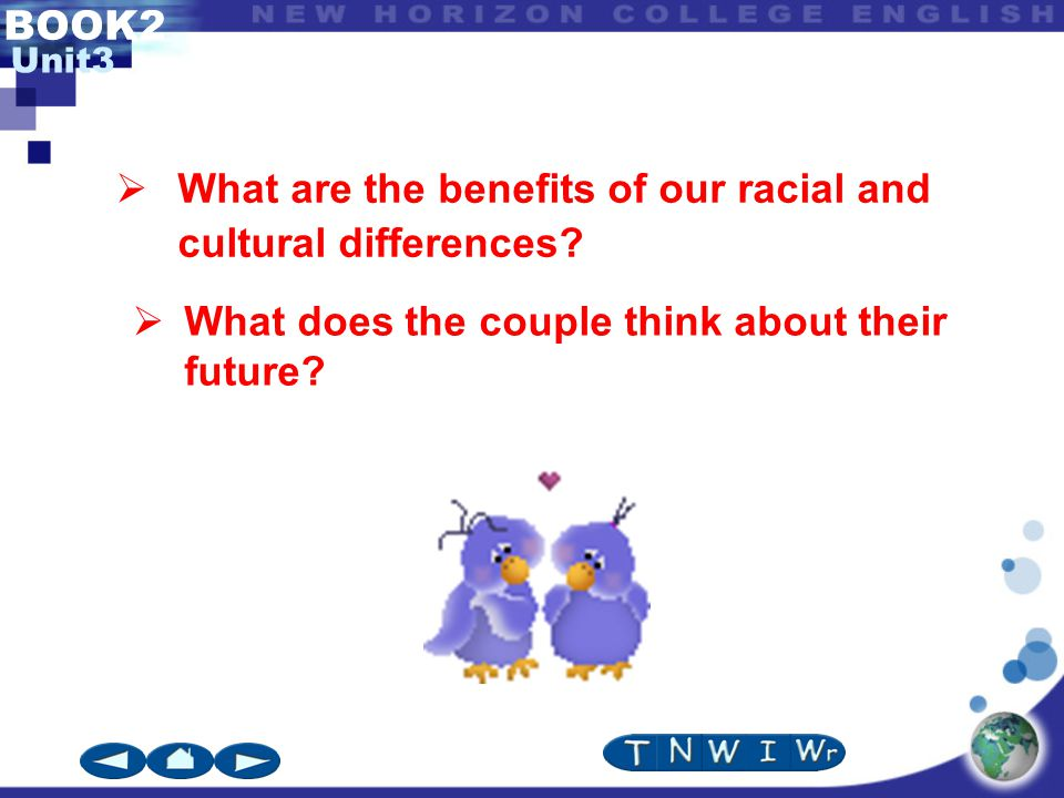 BOOK2 Unit3  What are the benefits of our racial and cultural differences.