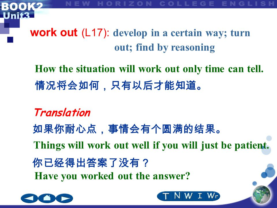 BOOK2 Unit3 work out (L17): develop in a certain way; turn out; find by reasoning Translation 如果你耐心点,事情会有个圆满的结果。 你已经得出答案了没有? Have you worked out the answer.