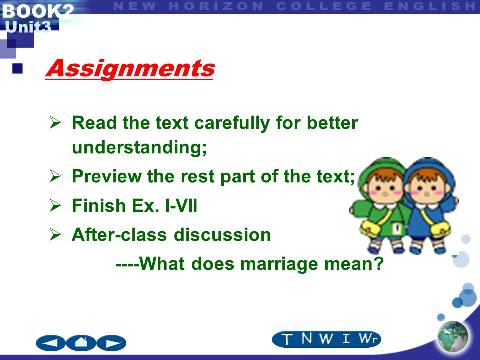 BOOK2 Unit3 Assignments  Read the text carefully for better understanding;  Preview the rest part of the text;  Finish Ex.