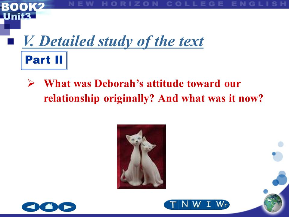 BOOK2 Unit3 V. Detailed study of the text Part II  What was Deborah's attitude toward our relationship originally? And what was it now?