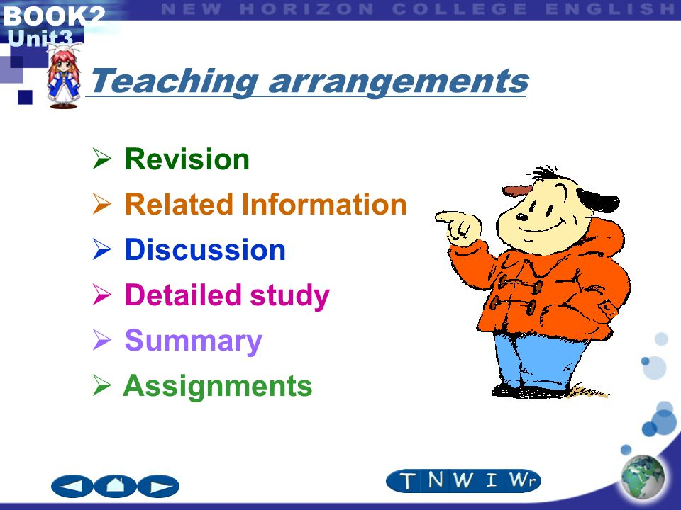 BOOK2 Unit3  Revision  Related Information  Discussion  Detailed study  Summary  Assignments Teaching arrangements