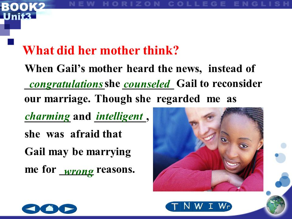 BOOK2 Unit3 When Gail's mother heard the news, instead of ______________she _________ Gail to reconsider our marriage.