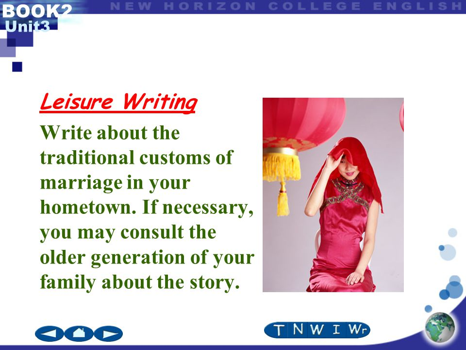 BOOK2 Unit3 Leisure Writing Write about the traditional customs of marriage in your hometown.
