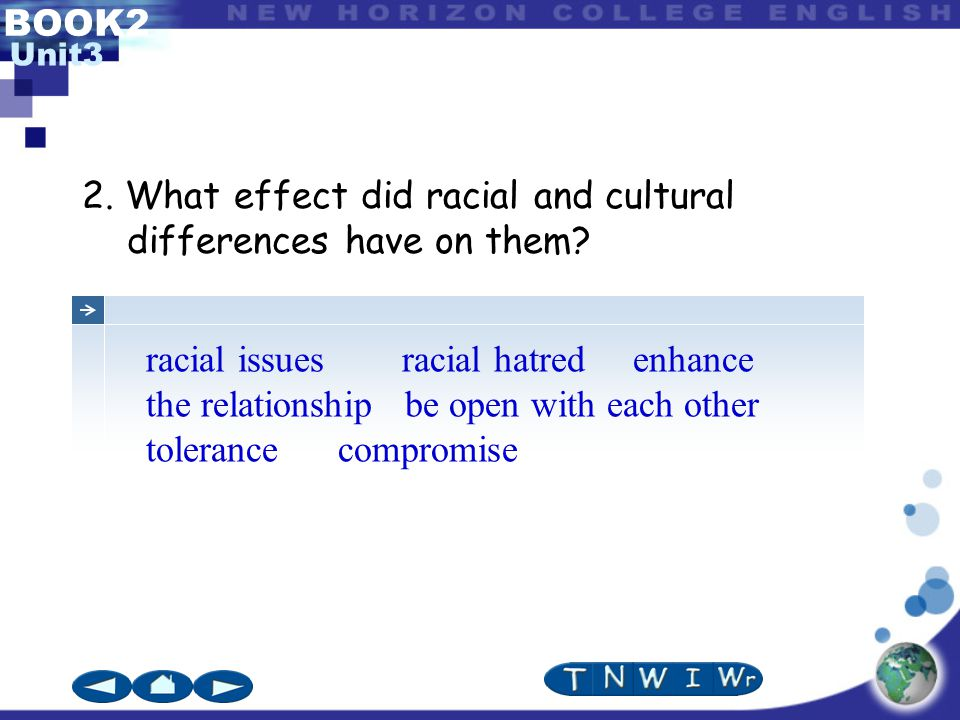 BOOK2 Unit3 2. What effect did racial and cultural differences have on them.