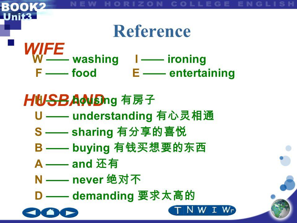 BOOK2 Unit3 Reference WIFE HUSBAND H —— housing 有房子 U —— understanding 有心灵相通 S —— sharing 有分享的喜悦 B —— buying 有钱买想要的东西 A —— and 还有 N —— never 绝对不 D ——