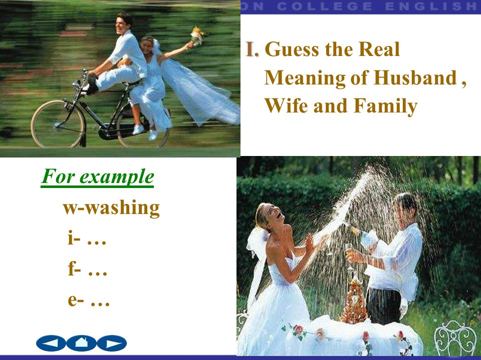 BOOK2 Unit3 For example w-washing i- … f- … e- … I. I. Guess the Real Meaning of Husband, Wife and Family