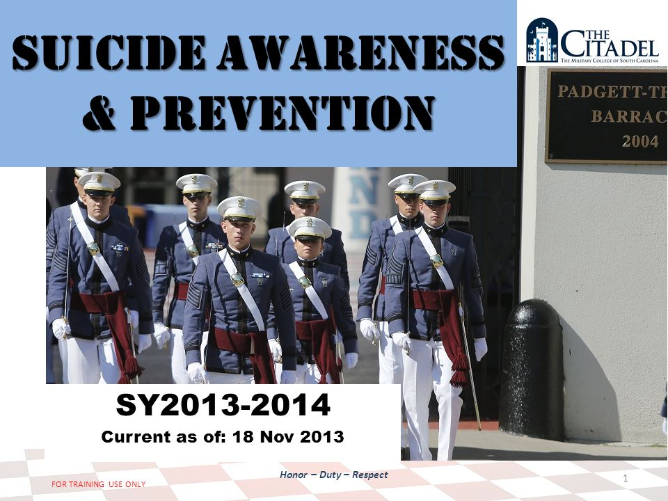 Honor – Duty – Respect FOR TRAINING USE ONLY Suicide Awareness & Prevention SY2013-2014 Current as of: 18 Nov 2013 1