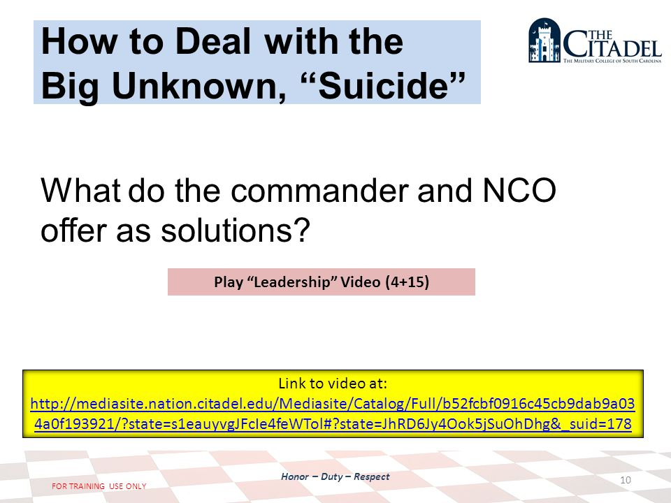 Honor – Duty – Respect FOR TRAINING USE ONLY How to Deal with the Big Unknown, Suicide What do the commander and NCO offer as solutions.