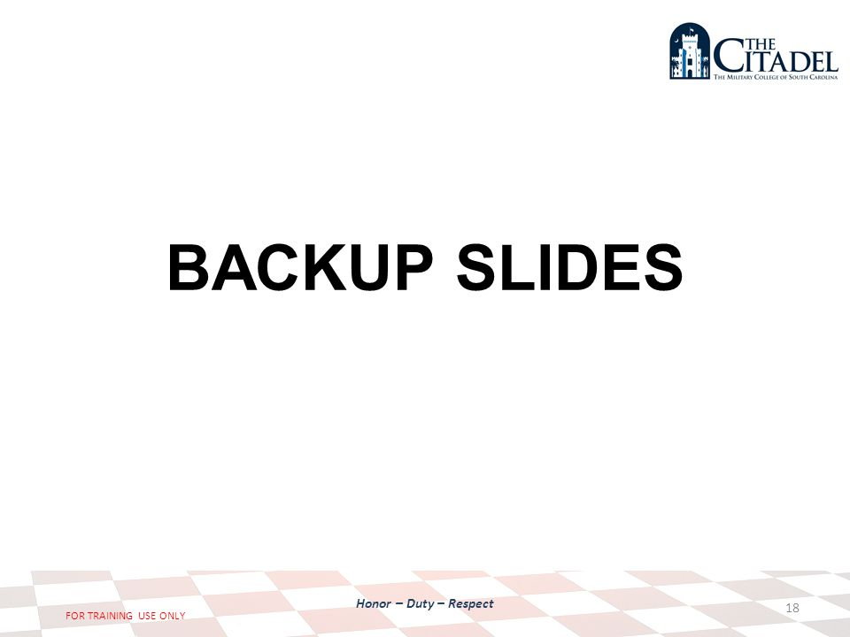 Honor – Duty – Respect FOR TRAINING USE ONLY BACKUP SLIDES 18