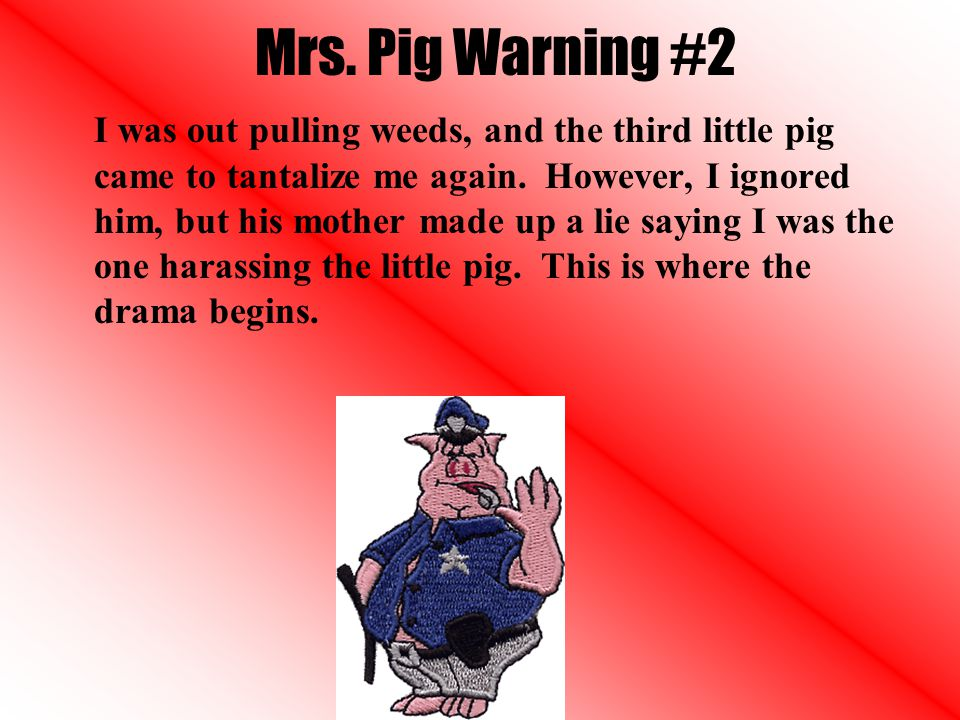 Mrs. Pig Warning #2 I was out pulling weeds, and the third little pig came to tantalize me again.