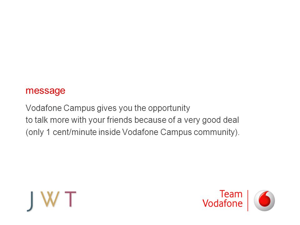 message Vodafone Campus gives you the opportunity to talk more with your friends because of a very good deal (only 1 cent/minute inside Vodafone Campu