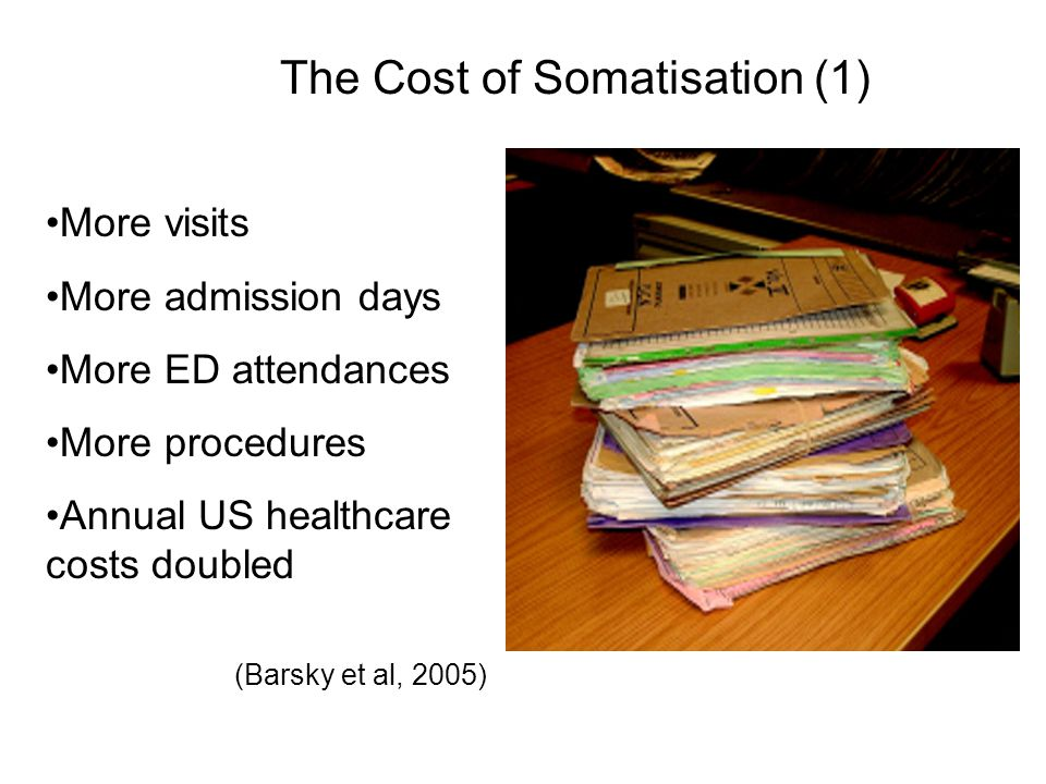 The Cost of Somatisation (1) More visits More admission days More ED attendances More procedures Annual US healthcare costs doubled (Barsky et al, 200