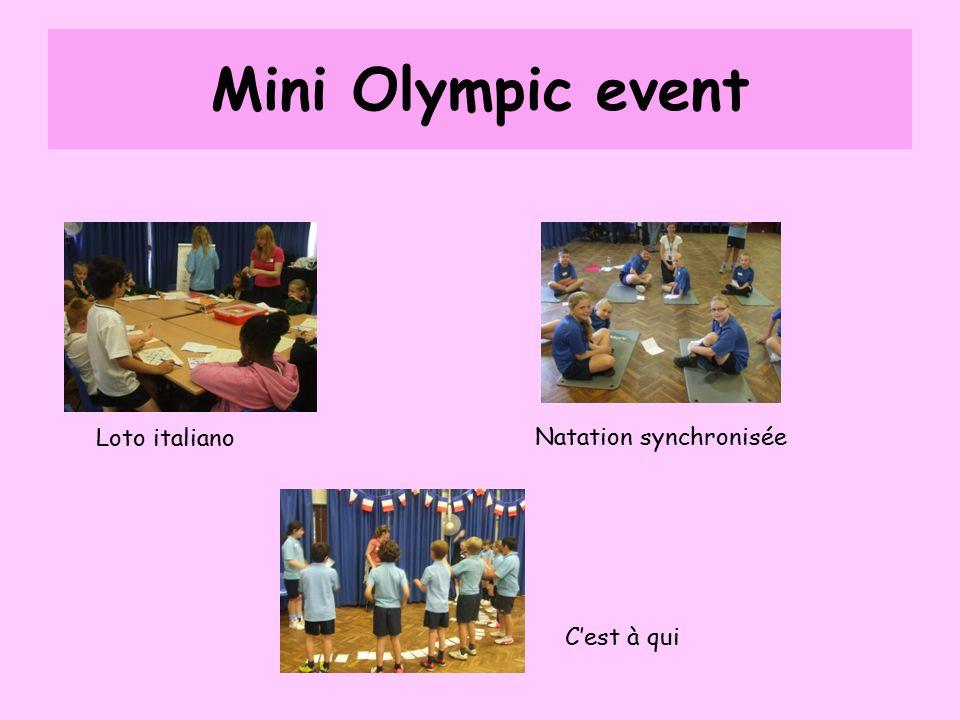 Mini Olympic event Loto italiano Natation synchronisée C'est à qui