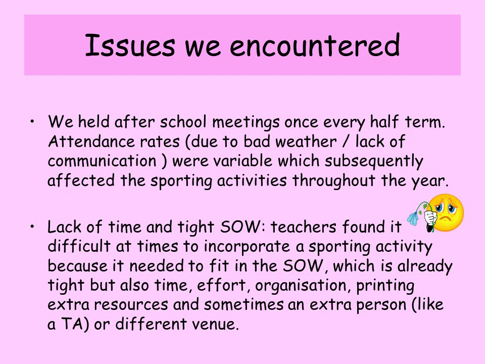Issues we encountered We held after school meetings once every half term.