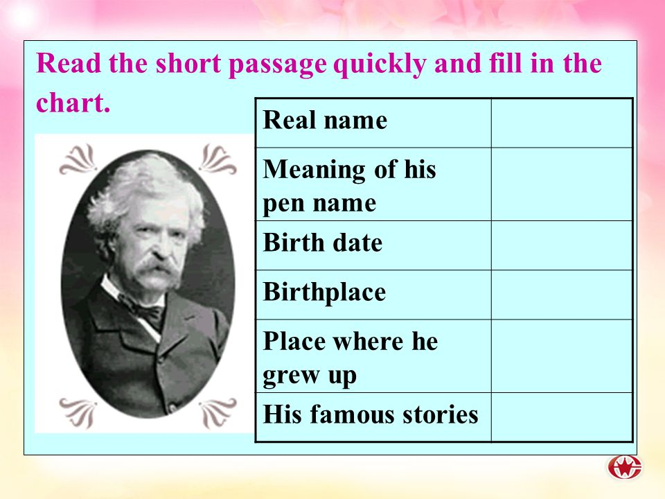 What do you know about Mark Twain? Warming up Mark Twain (1835—1910) The greatest humorist of the 19th century in American literature. Also one of the