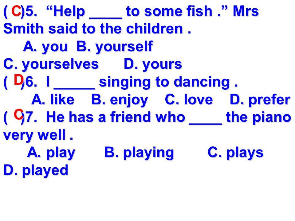 二. 单项选择 ( )1. I like music that I can dance __. A.