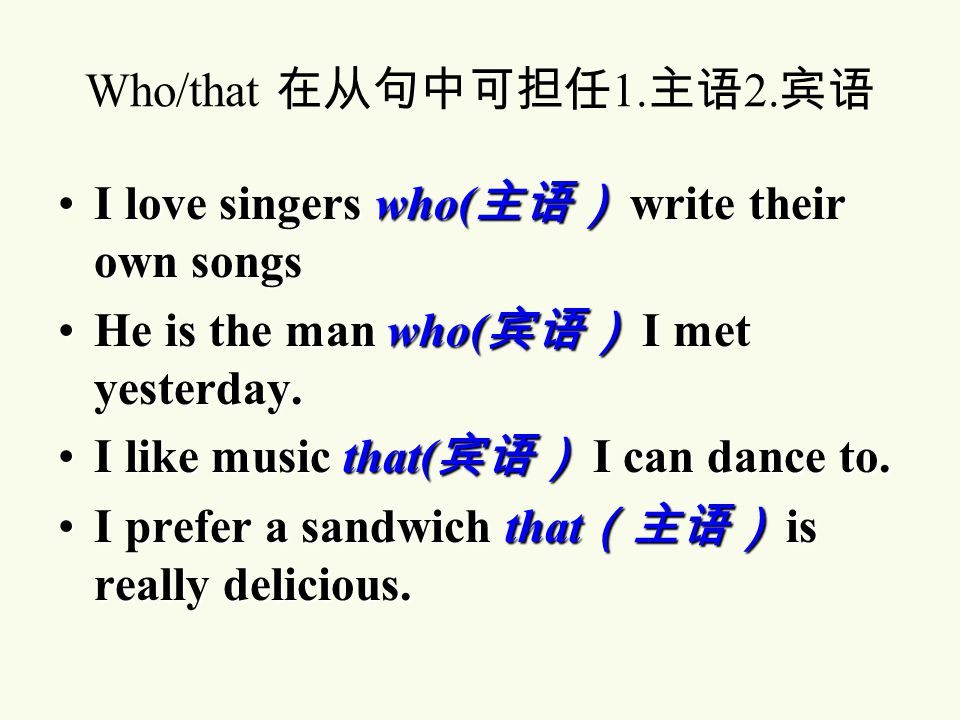 I prefer a sandwich that is really delicious. 定语从句,修 饰 sandwich