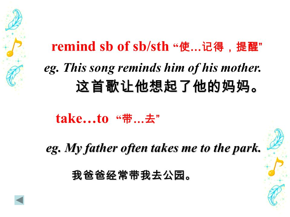 "remind sb of sb/sth "" 使 … 记得,提醒 "" eg. This song reminds him of his mother.这首歌让他想起了他的妈妈。"
