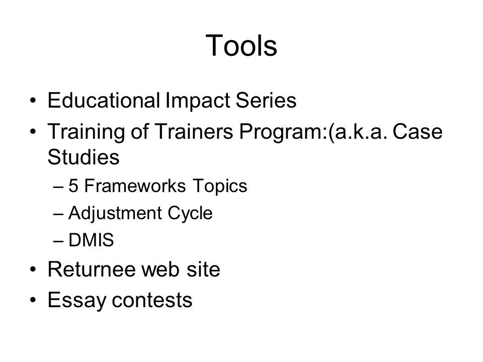 The 5 Frameworks of Culture Program Curriculum for AFS Participants and Families Adapted from Milton J.