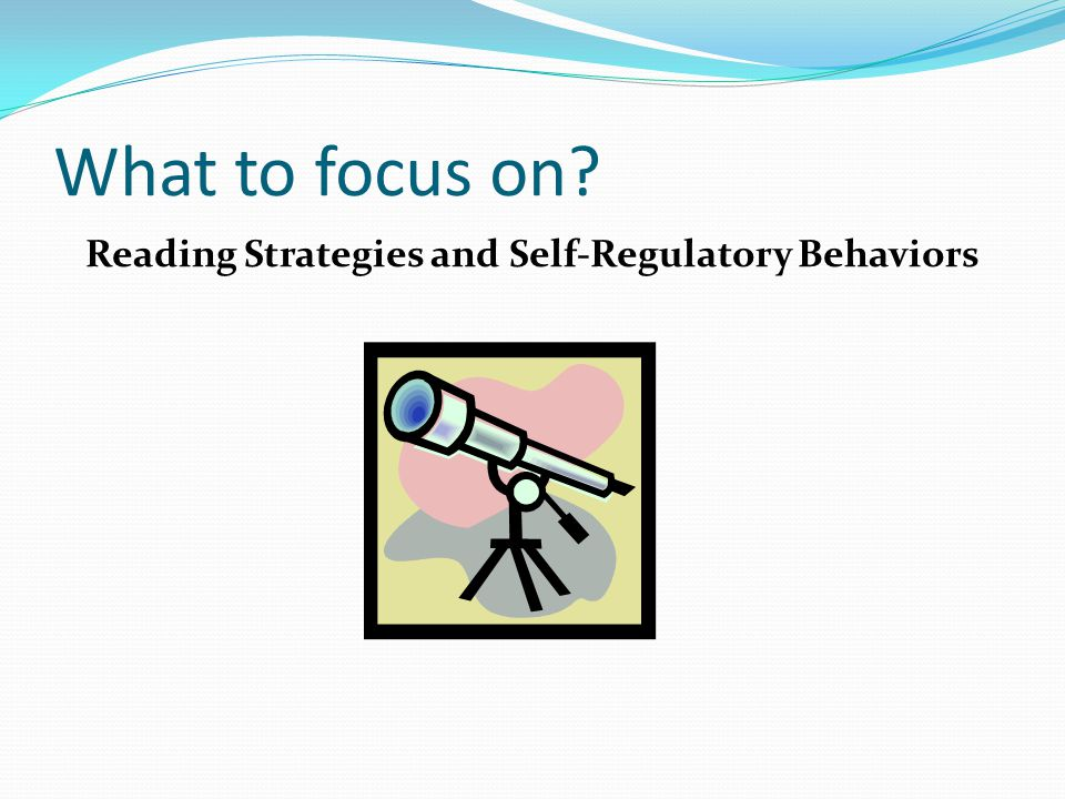 What to focus on Reading Strategies and Self-Regulatory Behaviors