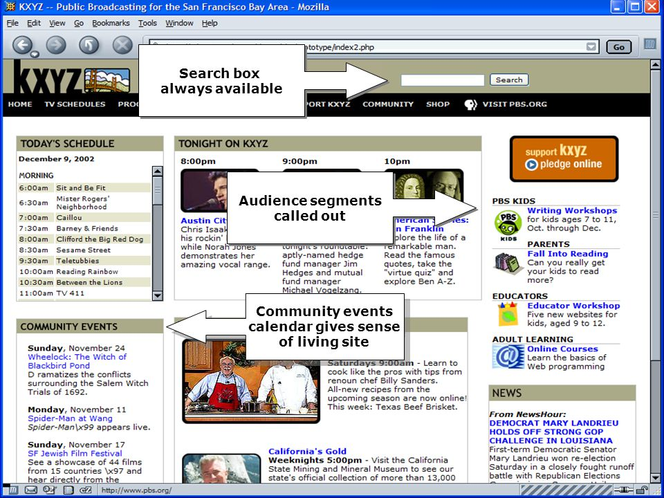 December 11, 2002PBS/NPR Summit by Screen Station Best Practices Page 15 Search box always available Search box always available Audience segments called out Audience segments called out Community events calendar gives sense of living site Community events calendar gives sense of living site