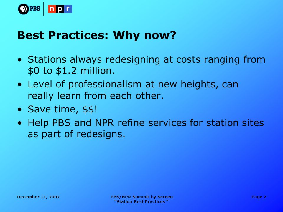 December 11, 2002PBS/NPR Summit by Screen Station Best Practices Page 2 Best Practices: Why now.