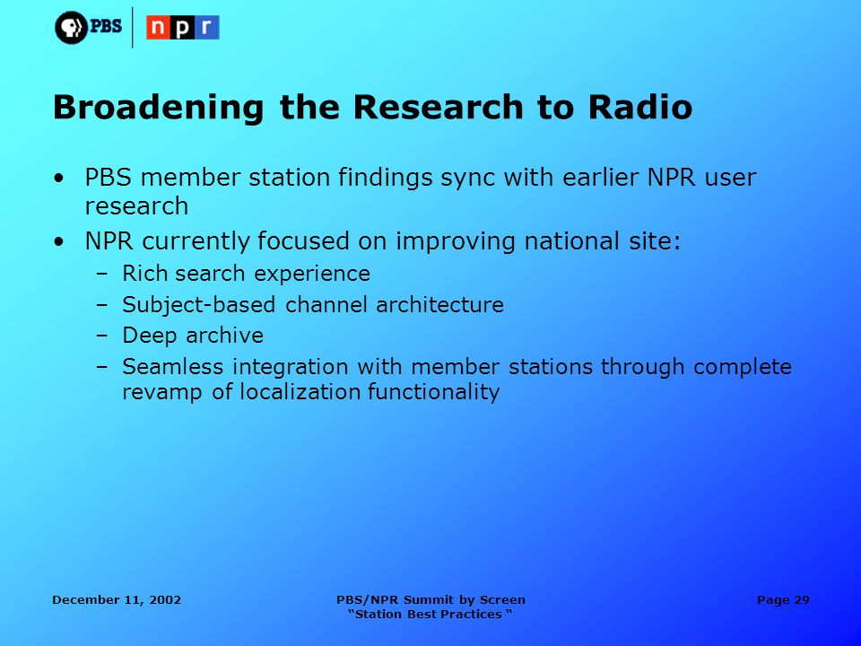 December 11, 2002PBS/NPR Summit by Screen Station Best Practices Page 29 Broadening the Research to Radio PBS member station findings sync with earlier NPR user research NPR currently focused on improving national site: –Rich search experience –Subject-based channel architecture –Deep archive –Seamless integration with member stations through complete revamp of localization functionality