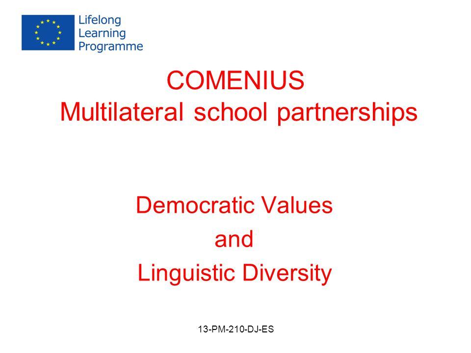 COMENIUS Multilateral school partnerships Democratic Values and Linguistic Diversity 13-PM-210-DJ-ES