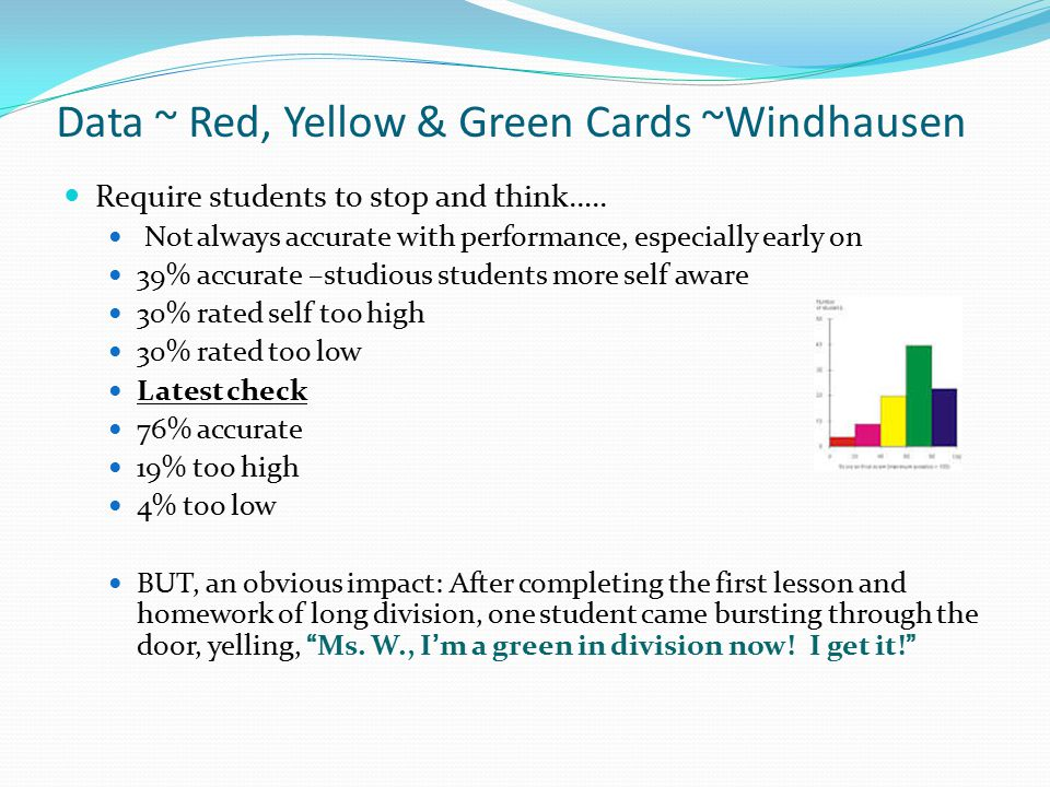Data ~ Red, Yellow & Green Cards ~Ploettner Require students to stop and think…..