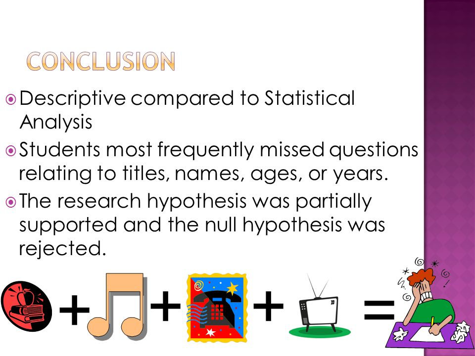  Descriptive compared to Statistical Analysis  Students most frequently missed questions relating to titles, names, ages, or years.  The research h