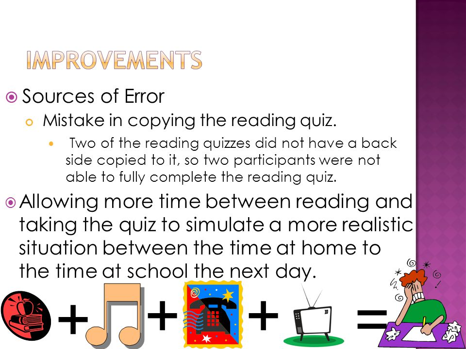  Sources of Error Mistake in copying the reading quiz.